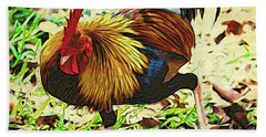 Scratching Rooster Beach Towel
