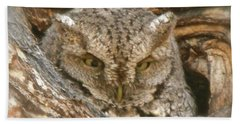 Screech Owl On Spring Creek Beach Towel