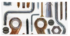 Screws, Nut Bolts, Nails And Hooks Beach Towel