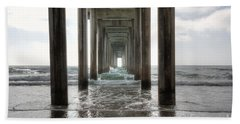 Beach Sheet featuring the photograph Scripps Pier by Eddie Yerkish