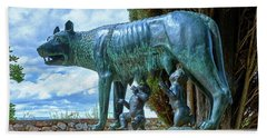 Beach Towel featuring the photograph Sculpture Of The Capitoline Wolf With Romulus And Remus by Eduardo Jose Accorinti