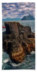 Beach Sheet featuring the painting Sea And Stone by Jeff Kolker
