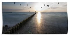 Sea Birds Sunset. Beach Towel