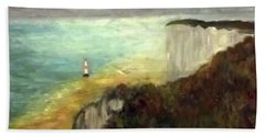 Sea, Cliffs, Beach And Lighthouse Beach Sheet