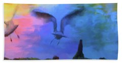 Sea Gull Abstract Beach Towel