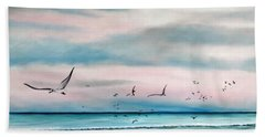 Sea Gulls On The Gulf Beach Towel