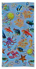 Sea Life Abstract Beach Towel