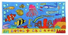 Sea Life Beach Towel by Artists With Autism Inc