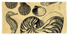 Beach Towel featuring the drawing Sea Life Vintage Illustrations by Edward Fielding