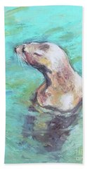 Sea Lion Beach Towel by Yoshiko Mishina