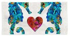 Sea Lovers - Seahorse Beach Art By Sharon Cummings Beach Towel