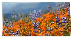 Sea Of California Wildflowers Beach Sheet by Kyle Hanson