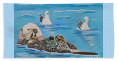 Beach Towel featuring the painting Sea Otter And Guardians by Phyllis Kaltenbach