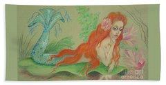 Sea Siren, Resting -- Whimsical Mermaid Drawing Beach Sheet
