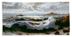 Beach Towel featuring the painting Sea Storm by Rosario Piazza