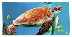 Beach Towel featuring the digital art Sea Turtle by Jimmie Bartlett