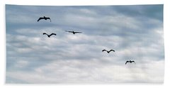Seabirds In Flight Beach Towel