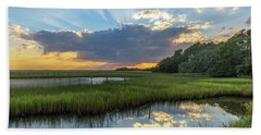 Beach Towel featuring the photograph Seabrook Island Sunrays by Donnie Whitaker