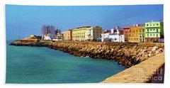 Seafront Promenade In Cadiz Beach Towel
