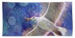 Seagull Against Blue Abstract Beach Towel by Peggy Collins