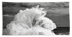 Seagull And A Wave Bw Beach Towel by Michael Cinnamond