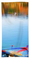 Beach Towel featuring the photograph Seagull And Boat by Silvia Ganora