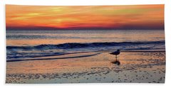 Seagull At Sunrise Beach Towel