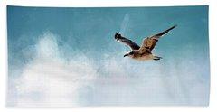 Seagull In Flight Beach Towel by Cyndy Doty