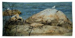 Seagull On A Rock Beach Towel