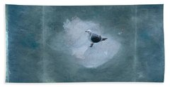 Seagull On Iceflow Beach Sheet by Victoria Harrington