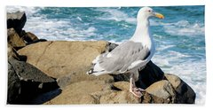 Seagull On Jetty Beach Towel