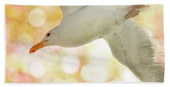 Seagull On Pink And Yellow Sky Beach Towel