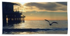 Seagull Pier Sunrise Seascape C2 Beach Towel