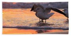 Seagull Stretch At Sunrise Beach Towel