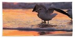 Seagull Stretch At Sunrise Beach Towel