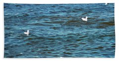 Seagulls And Water Art Beach Towel
