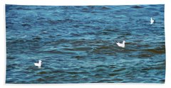 Seagulls And Water Art Beach Towel