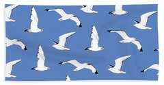 Seagulls Gathering At The Cricket Beach Towel