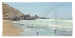 Seagulls In The Surf Beach Towel