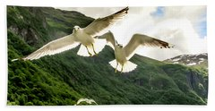 Seagulls Over The Fjord Beach Towel