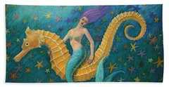 Beach Towel featuring the painting Seahorse Mermaid by Sue Halstenberg