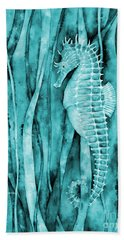 Seahorse On Blue Beach Towel