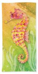 Seahorse Pink Beach Towel by Amy Kirkpatrick