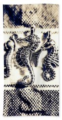 Seahorses In Blue Beach Towel