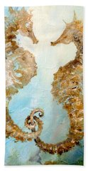 Beach Towel featuring the painting Seahorses In Love 2016 by Dina Dargo