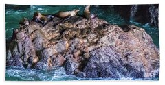 Beach Towel featuring the photograph Seal  Rock by Jonny D