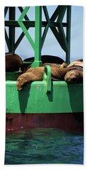 Seals On Channel Marker Beach Towel