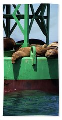 Seals On Channel Marker Beach Towel
