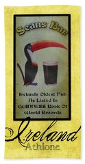 Seans Bar Guinness Pub Sign Athlone Ireland Beach Towel