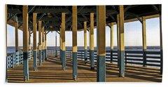 Seascape Walk On The Pier Beach Sheet by Carol F Austin